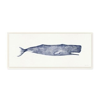 The Stupell Home Decor Collection Classic Whale Watercolor Blue Illustration, Wall Plaque, 7 x 0.5 x 17, Made in USA - 7 x 17