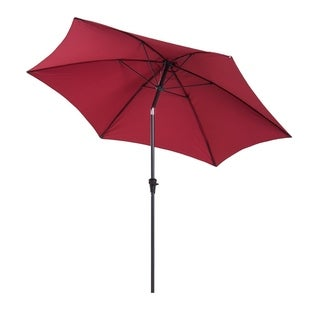 Outsunny 10' Aluminum Outdoor Patio Umbrella with Tilt and Crank - Dark Red