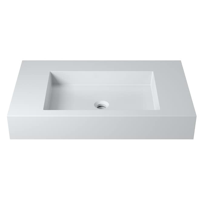31Polystone Rectangular Wall-Mount Sink in Glossy or Matte White Finish-No faucet (ws-ws-k75-g - Glossy)