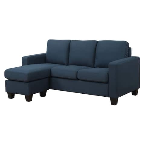 Porch & Den Dublin Peacock Blue Chofa Sectional with Two In One Reversible Chaise