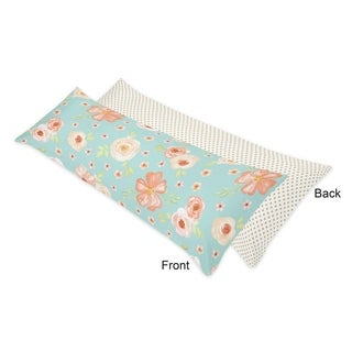 Sweet Jojo Designs Turquoise Peach Gold Polka Dot Watercolor Floral Collection Body Pillow Case (Pillow Not Included)