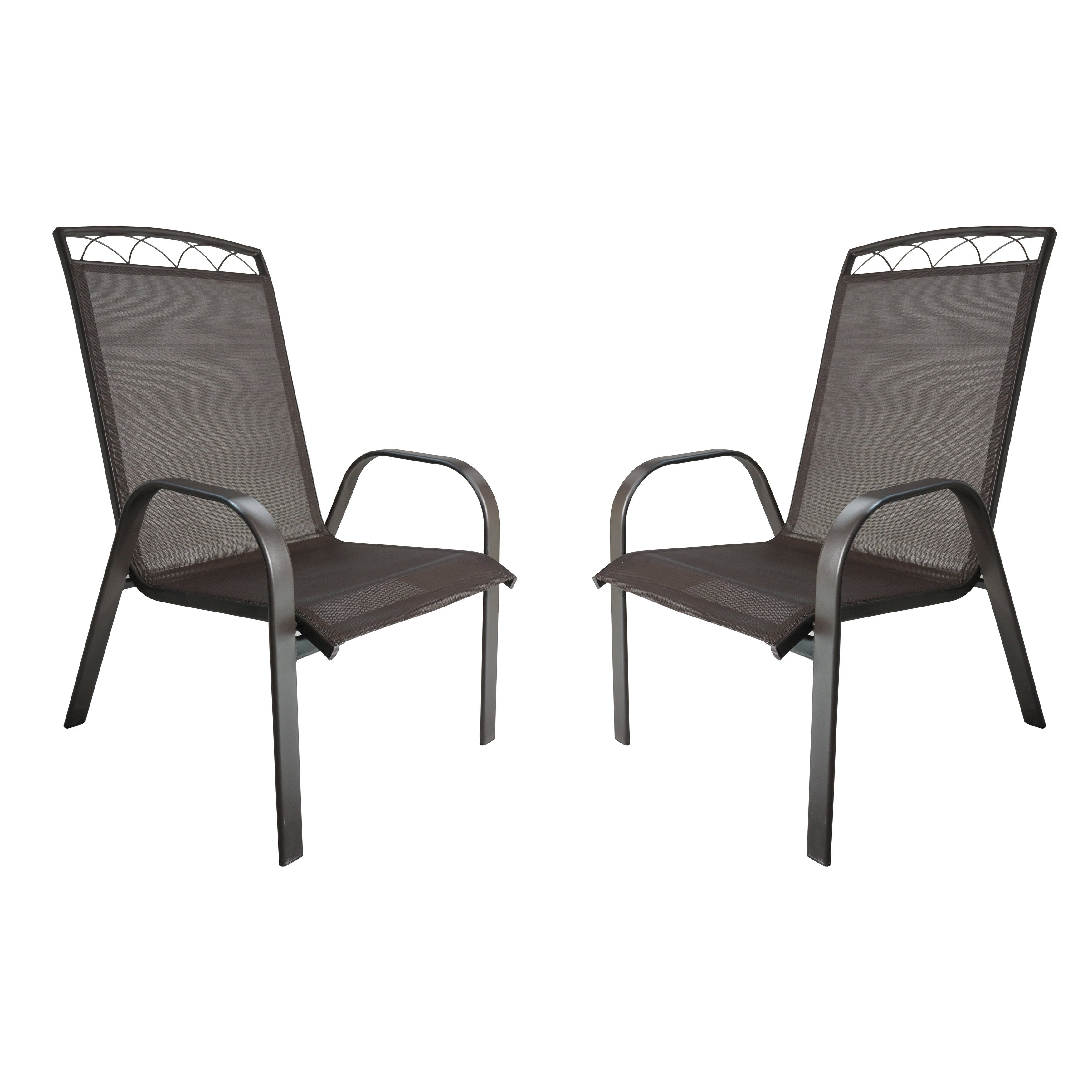 Monticello 2-PC Sling Dining Chairs-Brown (Dark brown)