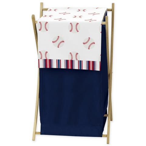 Sweet Jojo Designs Red, White and Blue Baseball Patch Sports Collection Laundry Hamper