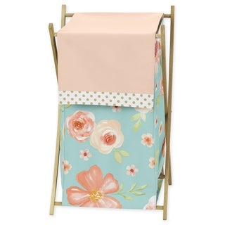 Sweet Jojo Designs Turquoise, Peach and Gold Watercolor Floral Collection Laundry Hamper