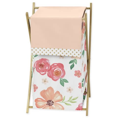 Sweet Jojo Designs Peach, Green and Gold Watercolor Floral Collection Laundry Hamper