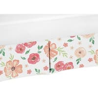 Sweet Jojo Designs Peach and Green Watercolor Floral Baby Girl Collection Crib Bed Skirt