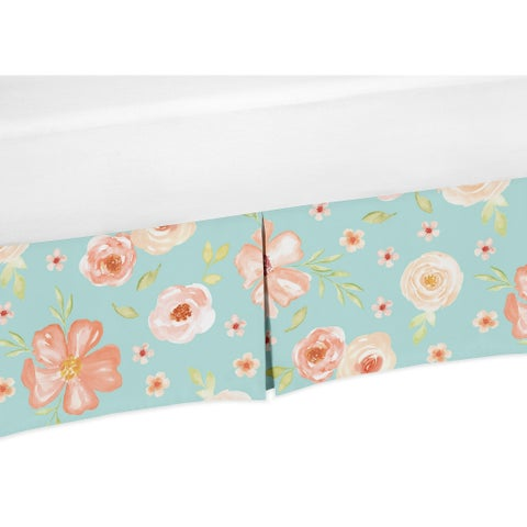 Sweet Jojo Designs Turquoise and Peach Watercolor Floral Baby Girl Collection Crib Bed Skirt