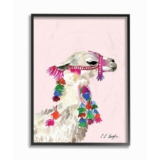The Stupell Home Decor Collection Pink Llama Decorated with Tassels Watercolor, Framed Giclee, 11 x 1.5 x 14, Made in USA