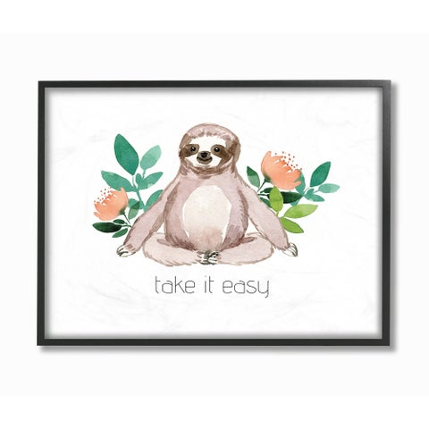The Stupell Home Decor Collection Take It Easy Peach Floral Sloth Watercolor, Framed Giclee, 11 x 1.5 x 14, Made in USA