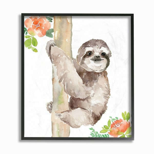 The Stupell Home Decor Collection Tropical Sloth With Peach Flowers Watercolor, Framed Giclee, 12 x 1.5 x 12, Made in USA