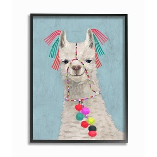 The Stupell Home Decor Collection Llama Adorned in Tassels and Pom Poms Painting, Framed Giclee, 11 x 1.5 x 14, Made in USA