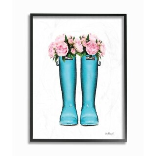 The Stupell Home Decor Collection Cyan Boots Pink Flowers Watercolor, Framed Giclee, 16 x 1.5 x 20, Made in USA - Multi-color