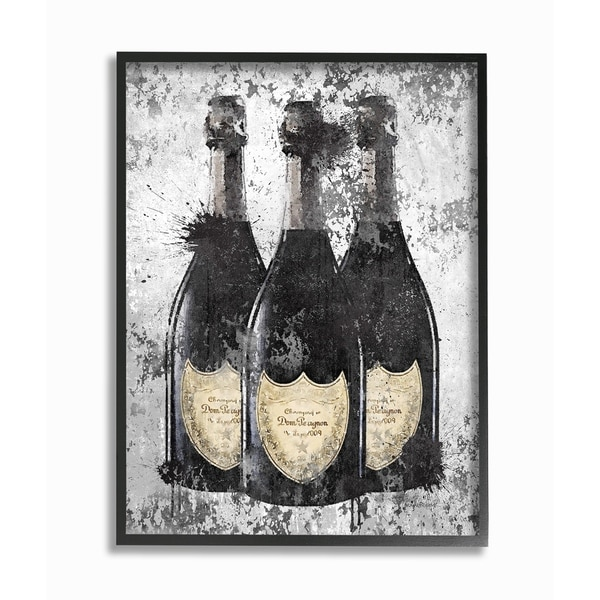 The Stupell Home Decor Collection Champagne Bottles Grey Gold Ink Illustration, Framed Giclee, 16 x 1.5 x 20, Made in USA