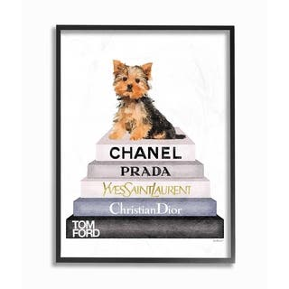 The Stupell Home Decor Collection Book Stack Yorkie Dog Glam Fashion Watercolor, Framed Giclee, 16 x 1.5 x 20, Made in USA