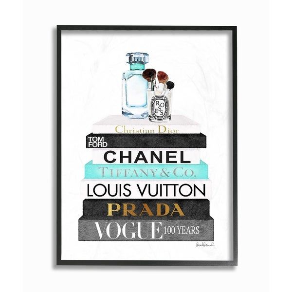 The Stupell Home Decor Collection Book Stack Perfume Brushes Glam Fashion Watercolor, Framed Giclee, 16 x 1.5 x 20, Made in USA. Opens flyout.