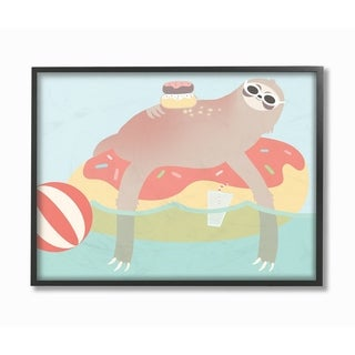 The Kids Room by Stupell Cartoon Lazy Sloth In a Donut Float, Framed Giclee, 11 x 1.5 x 14, Made in USA - Multi-color