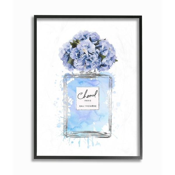 The Stupell Home Decor Collection Blue Flowers Perfume Bottle Watercolor, Framed Giclee, 16 x 1.5 x 20, Made in USA