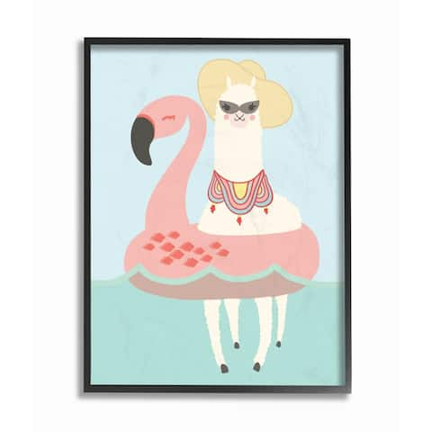 The Kids Room by Stupell Cartoon Glam Llama In a Flamingo Float, Framed Giclee, 11 x 1.5 x 14, Made in USA - Multi-color