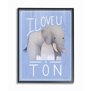 The Kids Room by Stupell I Love You A Ton Elephant Blue, Framed Giclee, 11 x 1.5 x 14, Made in USA - Multi-color
