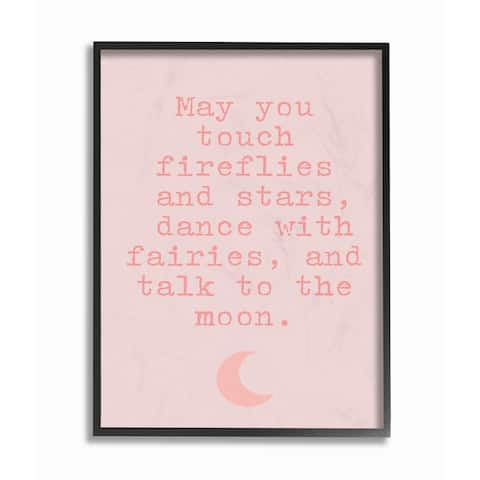 The Kids Room by Stupell Fireflies Stars And Fairies Typography with Pink Moon, Framed Giclee, 11 x 1.5 x 14, Made in USA