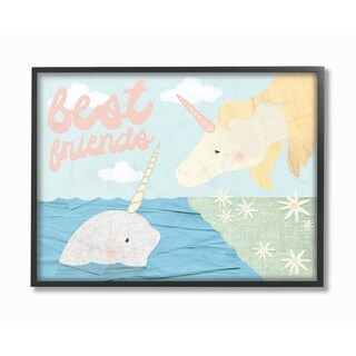 The Kids Room by Stupell Best Friends Narwhal and Unicorn Collage, Framed Giclee, 11 x 1.5 x 14, Made in USA - Multi-color