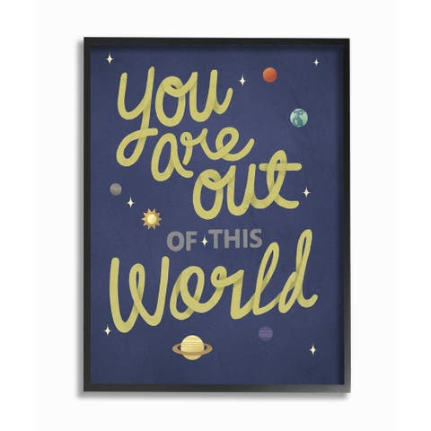 The Kids Room by Stupell Out Of This World Space Planets Typography, Framed Giclee, 11 x 1.5 x 14, Made in USA - Multi-color