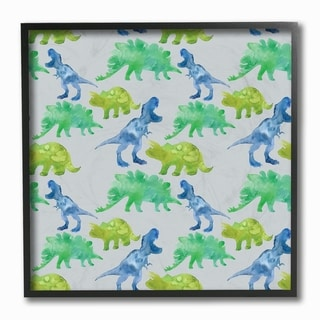The Kids Room by Stupell Green and Blue Watercolor Dino Pattern, Framed Giclee, 12 x 1.5 x 12, Made in USA