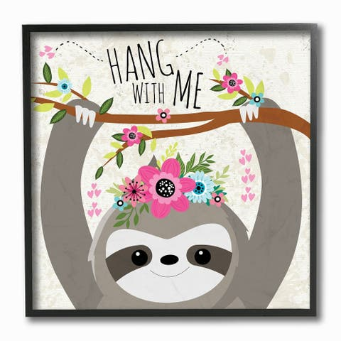 The Kids Room by Stupell Hang With Me Sloth and Flowers, Framed Giclee, 12 x 1.5 x 12, Made in USA - Multi-color - 12 x 12