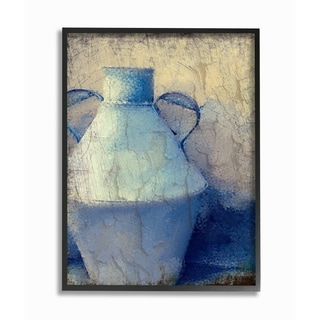 The Stupell Home Decor Collection Cracked Rustic Wall Painting Blue Pottery, Framed Giclee, 16 x 1.5 x 20, Made in USA