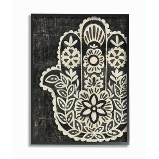 The Stupell Home Decor Collection Floral Pattern Black and White Hamsa, Framed Giclee, 16 x 1.5 x 20, Made in USA - Multi-color