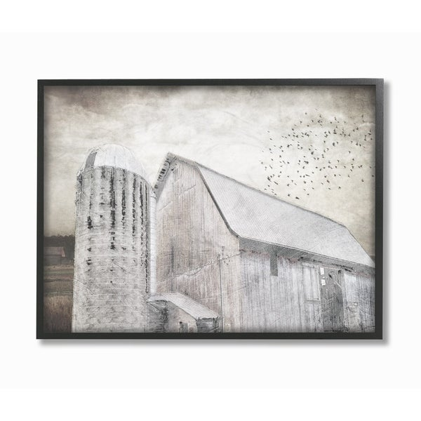 193c65bf04d6 Shop The Stupell Home Decor Collection Farm Grainhouse Black and White  Distressed Textures