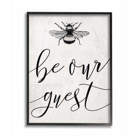 The Stupell Home Decor Collection Be Our Guest Bumble Bee Script Typography, Framed Giclee, 16 x 1.5 x 20, Made in USA