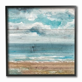The Stupell Home Decor Collection Ocean View Painted Planked Look, Framed Giclee, 12 x 1.5 x 12, Made in USA