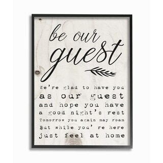 The Stupell Home Decor Collection Be Our Guest Poem Cursive, Framed Giclee, 16 x 1.5 x 20, Made in USA - Multi-color