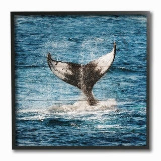 The Stupell Home Decor Collection Mammal Tail Ocean Splash Planked Look, Framed Giclee, 12 x 1.5 x 12, Made in USA