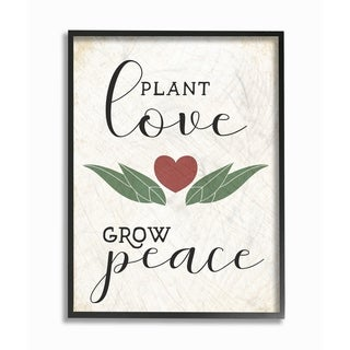 The Stupell Home Decor Collection Plant Love Grow Peace Heart and Leaves, Framed Giclee, 16 x 1.5 x 20, Made in USA