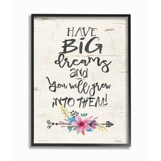 The Stupell Home Decor Collection Grow Into Big Dreams Flowers and Wood Look, Framed Giclee, 11 x 1.5 x 14, Made in USA