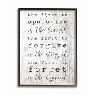 The Stupell Home Decor Collection Bravest Strongest Happiest Virtues Typography, Framed Giclee, 16 x 1.5 x 20, Made in USA