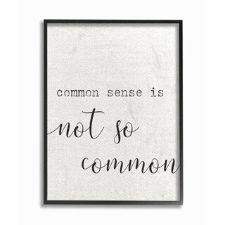 The Stupell Home Decor Collection Common Sense Not So Common Typography, Framed Giclee, 11 x 1.5 x 14, Made in USA - Multi-color