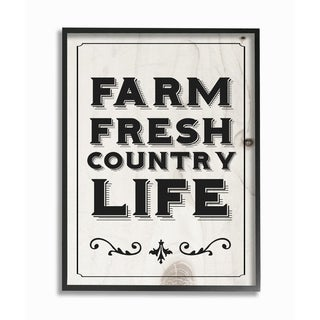 The Stupell Home Decor Collection Black and White Farm Fresh Country Life Typography, Framed Giclee, 16 x 1.5 x 20, Made in USA