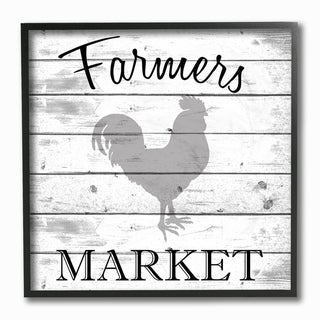 The Stupell Home Decor Collection Farmers Market Rooster Grey and White Planked Look, Framed Giclee, 12 x 1.5 x 12, Made in USA