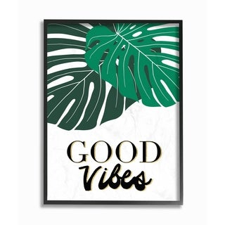 The Stupell Home Decor Collection Good Vibes Tropical Monstera Typography, Framed Giclee, 11 x 1.5 x 14, Made in USA (2 options available)