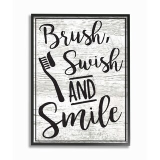 The Stupell Home Decor Collection Brush Swish And Smile Black and White Typography, Framed Giclee, 11 x 1.5 x 14, Made in USA