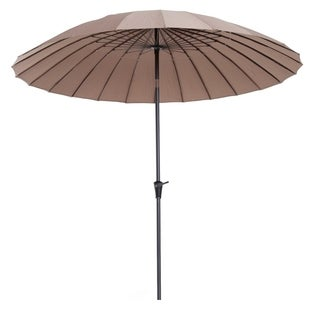 Outsunny 8.5' Aluminum Outdoor Patio Umbrella 24 Ribs with Tilt and Crank - Light Brown