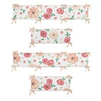 Sweet Jojo Designs Peach and Green Shabby Chic Watercolor Floral Collection Baby Crib Bumper Pad