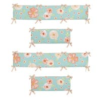 Sweet Jojo Designs Turquoise and Peach Shabby Chic Watercolor Floral Collection Baby Crib Bumper Pad