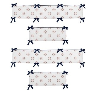 Sweet Jojo Designs Red, White and Blue Baseball Patch Sports Collection Baby Crib Bumper Pad