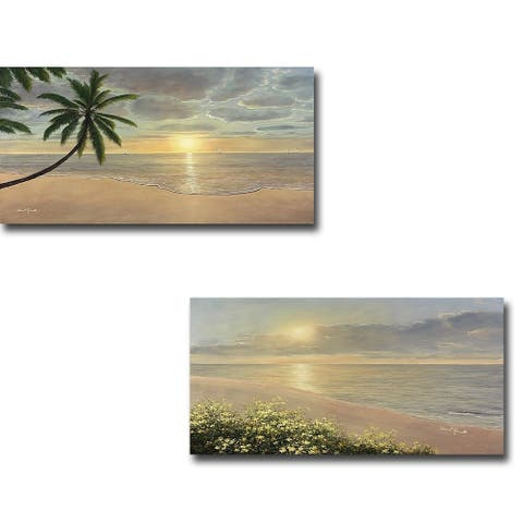 Beach Bliss & Peaceful Waters by Diane Romanello 2-piece Gallery Wrapped Canvas Giclee Art Set