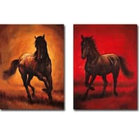 Stallion I & II by Ricardo Vargas 2-piece Gallery Wrapped Canvas Giclee Art Set