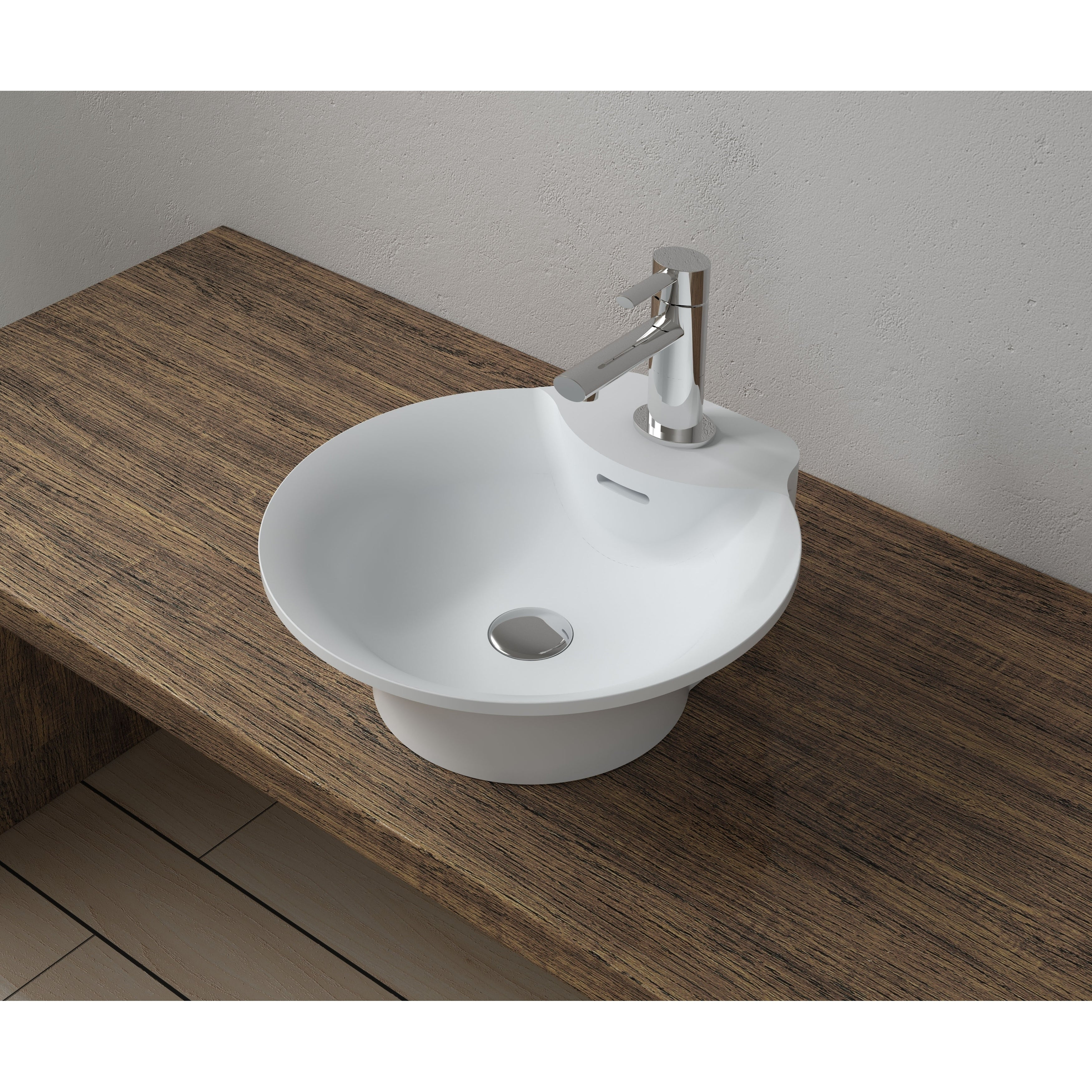 16x17 Polystone Round Vessel Bathroom Sink with Overflow in Glossy or Matte Finish-No Faucet (ws-vs-vp14-glossywhite)